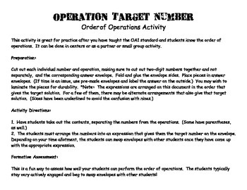 Operation Target Number:  An Order of Operations Activity