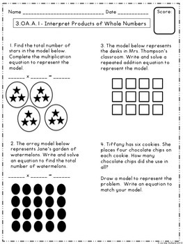 Operations and Algebraic Thinking 3rd Grade Common Core Assessments