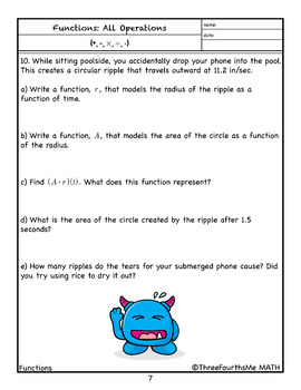 Operation of Functions (including composition): Homework/Classwork