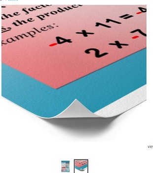 Operation with Integers Signed Numbers Math Poster