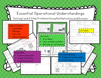 Operational Understandings: 1 and 2 step with Multiplication and Division