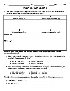 Operations & Algebraic Thinking 4th-5th Grade Math Homework