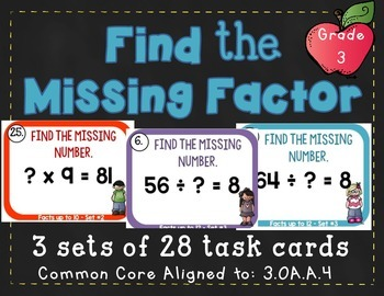 Find the unknown number - 3rd Grade 3.OA.A.4