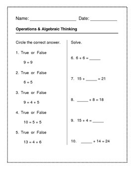 Operations & Algebraic Thinking - Numbers & Operations, In