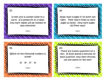Operations Algebraic Thinking Task Cards - Fourth Grade Common Core Math Review