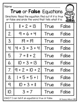 Operations & Algebraic Thinking Worksheets for 1st Grade