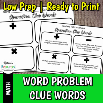 Operations Clue Words for Word Problems in Math