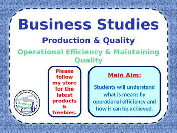 Operations - Operational Efficiency - Business Studies - P