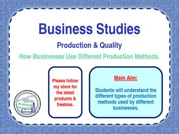 Operations - Production Methods - PPT & Worksheet - Business Studies