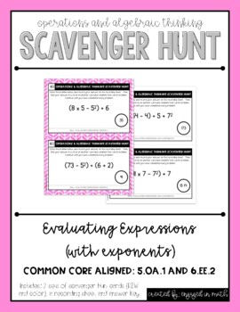 Operations Scavenger Hunt Set 1: Evaluating Expressions