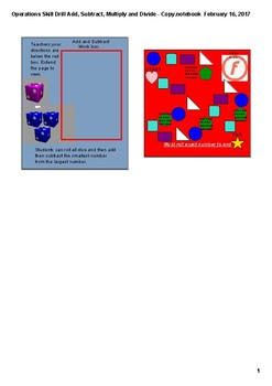 Operations Skill Drill for Addition, Subtraction, Multiplication, and Division