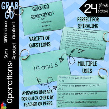 Operations: Sum, Difference, Product, Quotient Grab & Go Flashcards