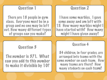 Word Problems - Math Operations Task Cards