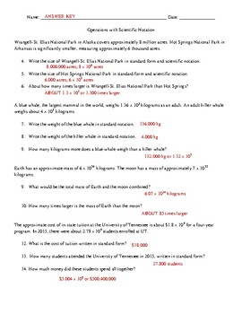 Operations Using Scientific Notation (Word Problems)