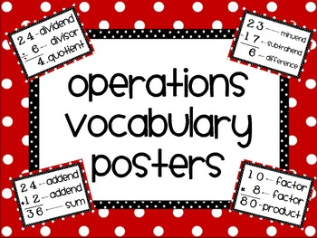 Operations Vocabulary Posters