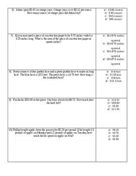 Operations With Decimals Quiz