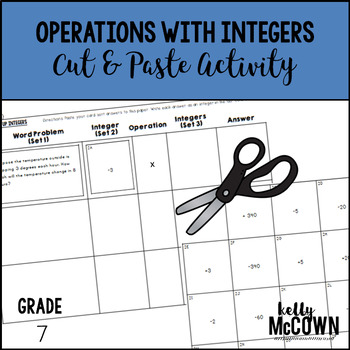 Operations With Integers Cut & Paste Activity