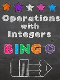 Operations With Integers Differentiated Bingo Game