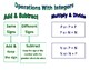 Operations With Integers Poster / Anchor Chart