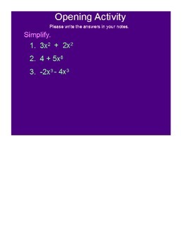 Operations With Polynomials SmartBoard Lesson