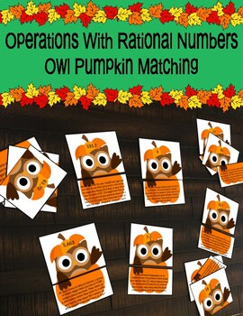 Operations With Rational Numbers Owl Pumpkin Matching