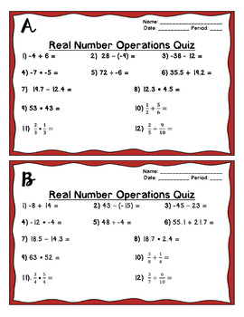 Operations With Real Numbers Group Quiz