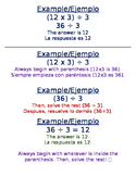 Operations Worksheet Parenthesis- EDITABLE BILINGUAL SPANI