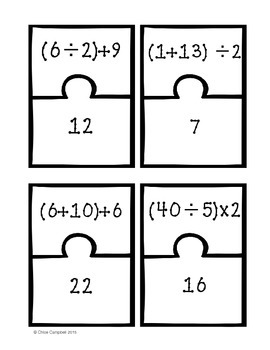Operations and Algebraic Expressions BUNDLE!!  [Matching Puzzle Pieces]