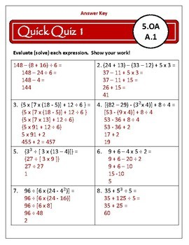 Operations and Algebraic Thinking: 5th Grade OA Assessments - 5.OA.1-3