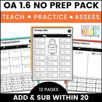 Print a Standard 1.OA.6 {Add & Subtract Within 20} No Prep!