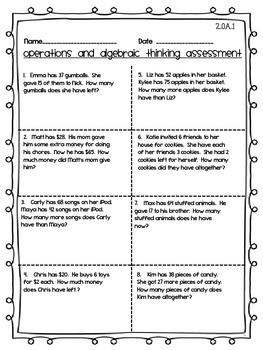 Operations and Algebraic Thinking Assessment 2nd Grade OA
