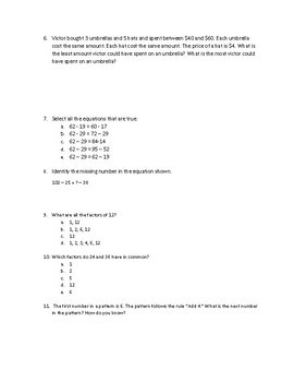 Operations and Algebraic Thinking Assessment