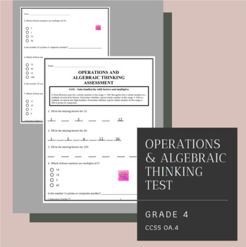 Operations and Algebraic Thinking Assessment Grade 4 (4.OA.4)
