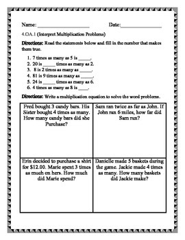 Grade 4 Operations and Algebraic Thinking Assessments Common Core Aligned
