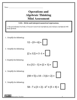 Operations and Algebraic Thinking Assessments Grade 5 OA ...