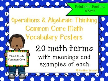 Operations and Algebraic Thinking Common Core Math Vocabulary Posters- Grade 3