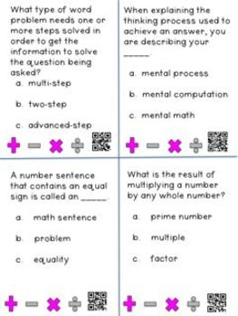 Operations and Algebraic Thinking CCSS Grade 4: A Vocabulary Tool Kit