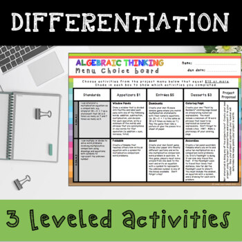 Operations and Algebraic Thinking Enrichment Choice Board – 4th Grade