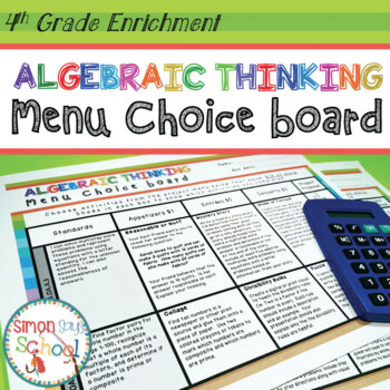 Operations and Algebraic Thinking Enrichment Choice Board