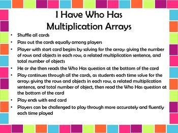 Operations and Algebraic Thinking I Have Who Has Multiplication