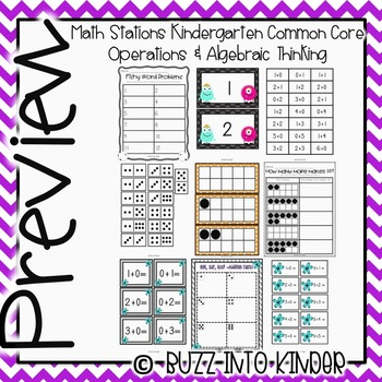 Operations and Algebraic Thinking Kindergarten Math Stations for Common Core