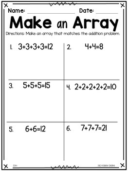 Operations and Algebraic Thinking Math Printables for Second Grade