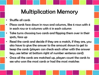 Operations and Algebraic Thinking Multiplication Memory