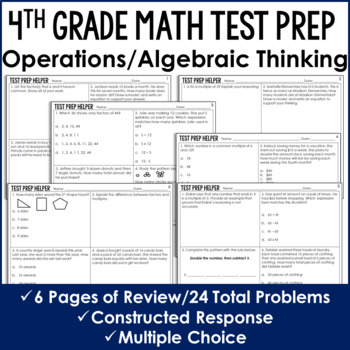 Operations and Algebraic Thinking Problems {4th Grade Common Core Test Prep}