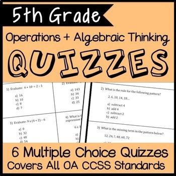 Operations and Algebraic Thinking Quiz Bundle, Fifth Grade Math OA Assessments!
