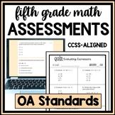 Operations & Algebraic Thinking Quiz Bundle, 5th Grade Math CCSS OA Assessments