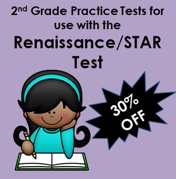4 Math Practice Tests for STAR / Renaissance Testing  for 2nd Grade PDFs
