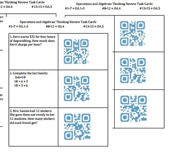 Operations and Algebraic Thinking Review Task Cards