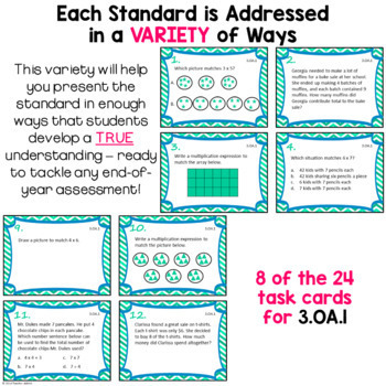 Operations and Algebraic Thinking Task Card Bundle: 3.OA.1 - 3.OA.9