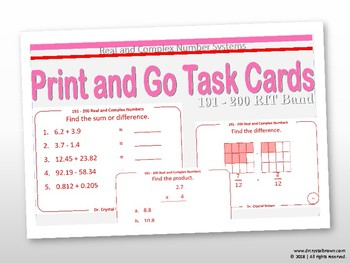 Real and Complex Number Systems Task Cards:  RIT Band 191 - 200